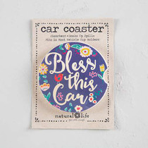 Car Coaster - Bless This Car Navy