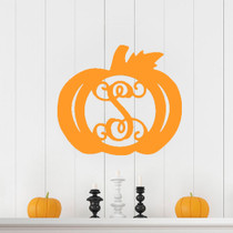 Single Initial Wooden Pumpkin