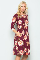 Norah Floral Babydoll Dress - Burgundy