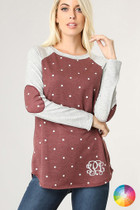 Crystal Polka Dot Elbow Patch Top