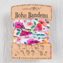 Boho Bandeau Headband - Pink Floral Polka