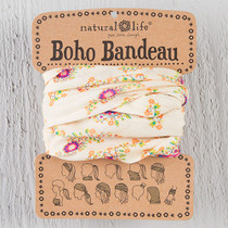 Boho Bandeau Headband  - Cream/Pink Floral