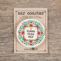 Car Coaster - Bless This Car White