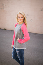 Hampton Hi-Lo Raglan Sweatshirt - Pink