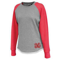 Hampton Hi-Lo Raglan Sweatshirt - Red