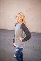 Hampton Hi-Lo Raglan Sweatshirt - Black