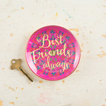 Best Friends Always Round Glass Tray