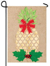 Gold Pineapple Burlap Flag