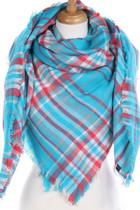 Plaid Blanket Scarf - Aqua