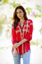 Cara Tunic - Red/Black Plaid