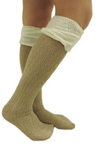 Two Tone Ruffle Boot Socks - Beige