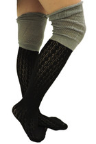 Two Tone Ruffle Boot Socks - Black