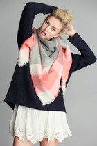 Plaid Blanket Scarf - Grey Coral