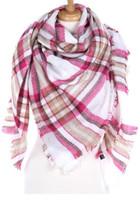Plaid Blanket Scarf - Pink/Beige