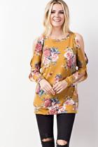 Kayla Cutout Sleeve Top - Mustard