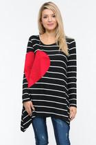 Samantha Striped Heart Tunic - Black