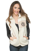 Camden Sherpa Patch Vest - Cream