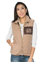 Camden Sherpa Patch Vest - Brown
