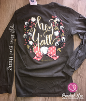 Hey Y'all Long Sleeve Tee - Charcoal