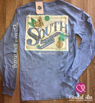 South Long Sleeve Tee - Carolina Blue