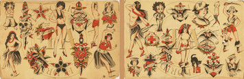 Great set of flash from the 1940s by an unknown tattoo artist.  5 sheets 11 x 17