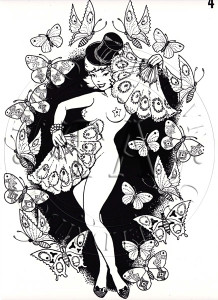 Black & White sheet of pin-up with fans, surrounded by butterflies.  11 x 16