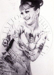 Black & White card showing tattooed woman, c 1960s. 4 x 6