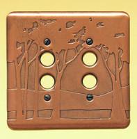 Landscape Double Push Button Copper Switchplate
