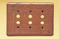 Landscape Triple Push Button Copper Switchplate