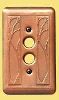 Art Nouveau Single Push Button Copper Switchplate