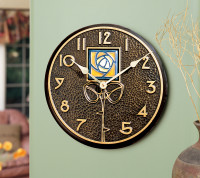 Wall Clock with Dard Hunter Amber Rose Motif