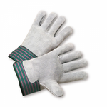 Full Leather Back Work Glove w/Rubberized Cuff 1dz