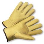 Large Full Grain Leather Pig Driver's Glove w/Keystone Thumb 1dz