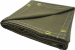 6x6' Olive Canvas Welding Curtain w/Grommets 14 oz