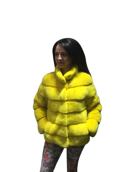 Yellow Mink fur coat front side