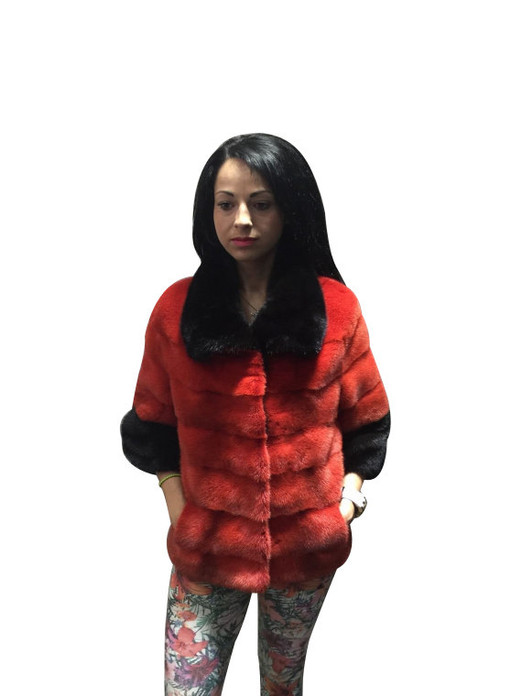Red Mink fur coat black collar and cuffs front view