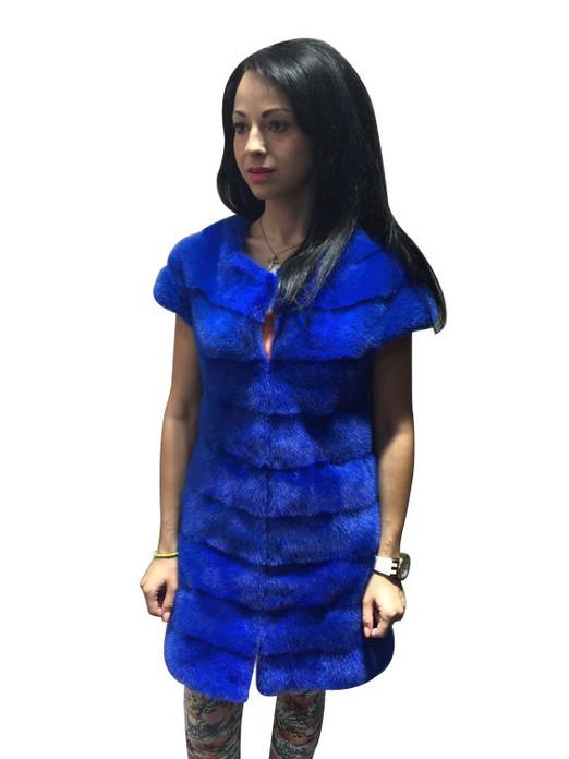 Royal Blue Mink fur vest