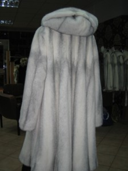 SILVER CROSS MINK FUR COAT  FULL LENGTH SIZE XL HOOD