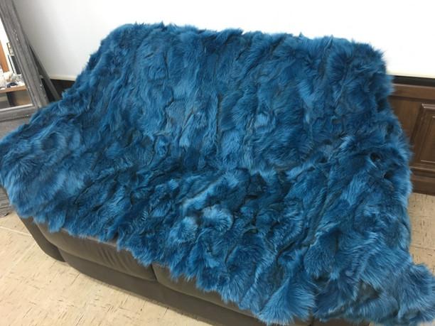 Teal fox fur blanket/throw