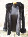Beaver Fur Coat Sheared Black Hood  xxL