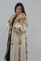 Black & beige Mink Fur Jacket Fox Collar