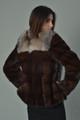 brown mink fur coat with crystal fox fur collar