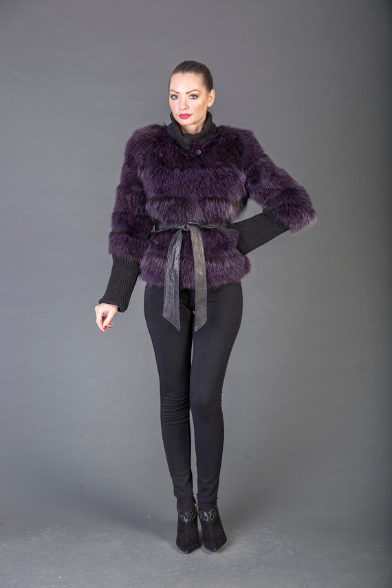 Purple Racoon fur Coat with Leather Belt - SKANDINAVIK FUR