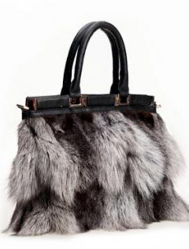 silver fox fur bag