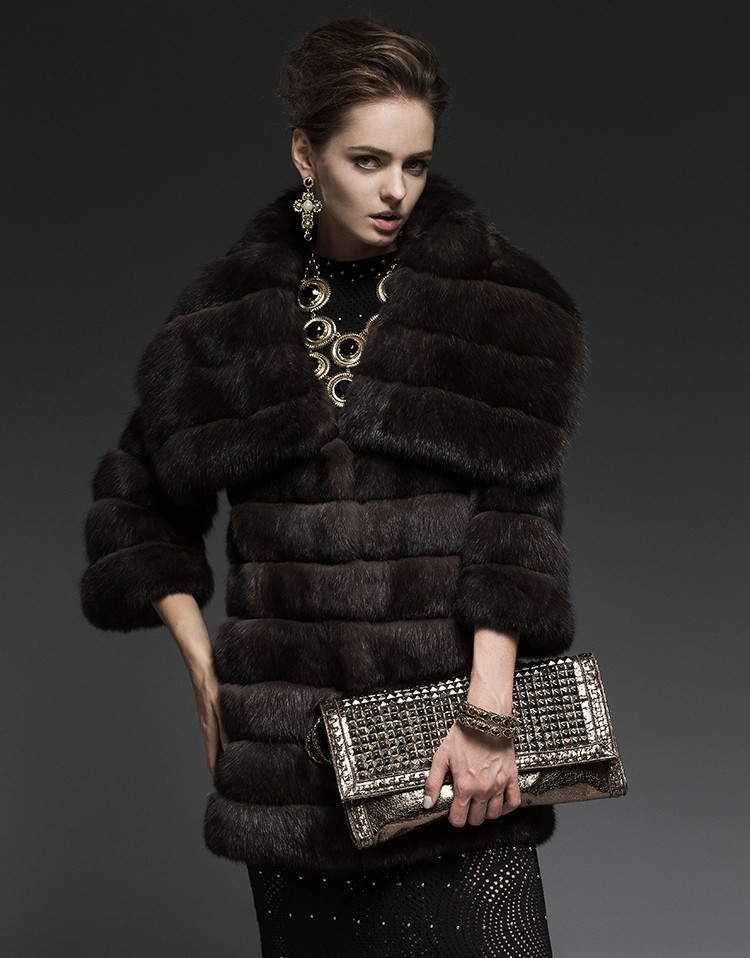 sable fur coat shawl collar elbow sleeves