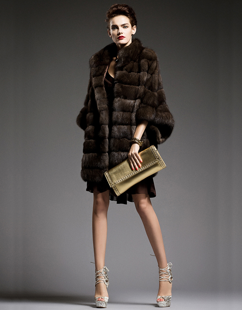 bat style sable fur jacket