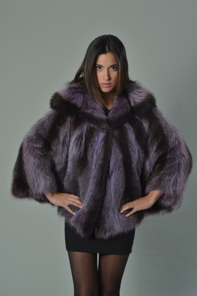 PURPLE RACCOON FUR CAPE HOODED