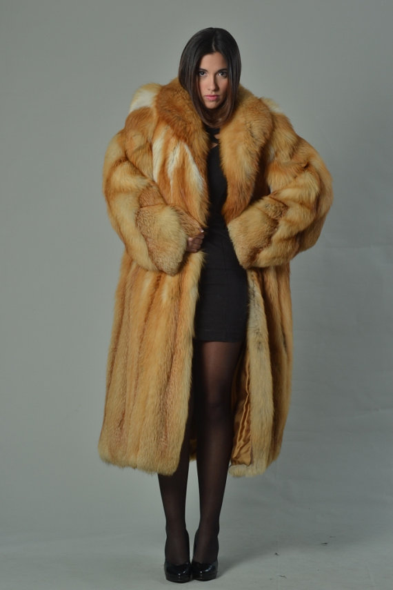 red fox fur coat full length