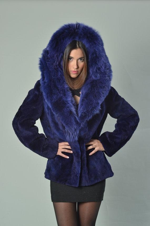 blue beaver fur coat