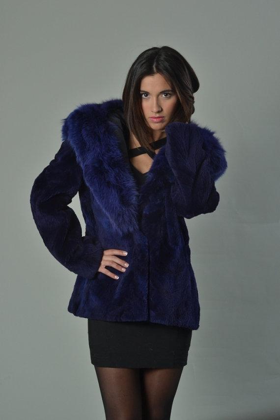 blue sheared beaver fur coat hood